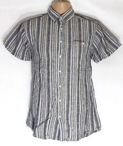 Men's Vintage DRESSMANN Short Sleeve Grey Striped Linen Cotton Shirt Size M