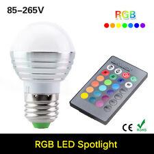 3W E27 16 Colors Changing RGB LED Light Bulb Lamp+IR Remote Control 85-265V Sale