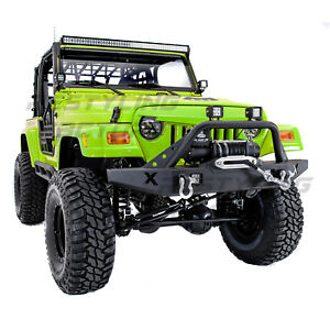 X-Rock Crawler Front Bumper+Winch Plate+2x D-Rings for 97-06 Jeep Wrangler TJ