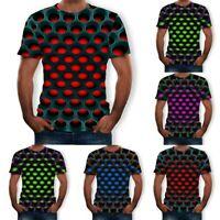 Men Summer 3D Printed T-Shirt Short Sleeves Fashion Novelty Slim Blouse Tops Tee