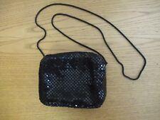 "Ladies Evening Handbag black beads, size 6x4x2"", thin metal chain 44"", zip 3157"