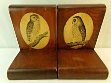 """Vintage Wooden Owl Bookends Pair Book End Shelf Decor 7 1/4"""" tall"""
