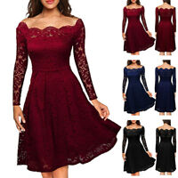 UK Womens Ladis Sexy Lace Bardot Cocktail Party Evening Midi Skater Swing Dress