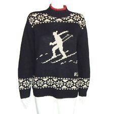 Vintage Ralph Lauren Winter Suicide Ski Hand Knit Sweater Nordic Petite Medium
