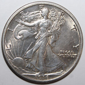 1916-D Liberty Walking Half Dollar 90% Silver 10% Copper  **Free Shipping**