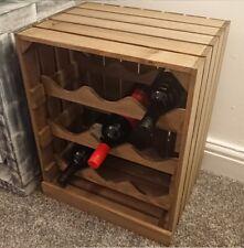 Wooden Wine Rack Apple Crate Style Farm Shop 9 Bottles Vintage Brown