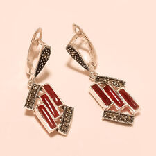 925 Sterling Silver Red Onyx Agate Pipe & Marcasite Fine Jewelry Wedding Earring