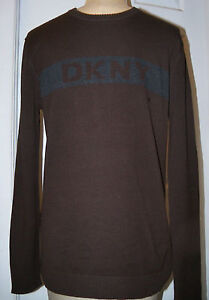 DONNA KARAN DKNY -sz S HANDSOME SWEATER - BROWN WITH DKNY LOGO ON CHEST - NWT