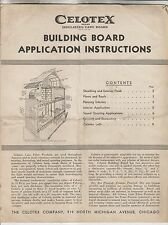 CIRCA 1935 CELOTEX BUILDING BOARD APPLICATION INSTRUCTIONS - THE CELOTEX COMPANY