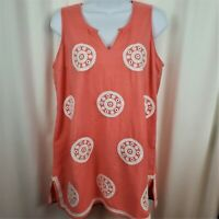 Mudpie Womens Cotton Tunic Sleeveless Peach embroidered accents Size Medium