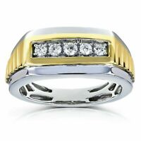 0.50Ct Round Cut Diamond Wedding Lovely Band Men's Ring Two-tone 14k Gold Fin