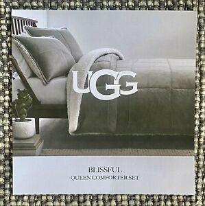 NWT UGG BlissfulClassic Box Quilt & Sherpa Queen Comforter Set Seal/SherpaCream