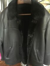 11K Kiton Napoli Shearling Fur Black Leather Jacket W/Python Skin Size 52 NWOT