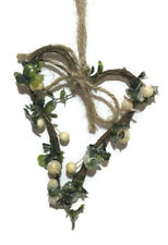Heart Christmas Decoration Hanging Artificial Green & White Berry Wreath Home
