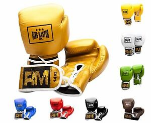 RingMaster Leather Boxing Gloves Lace up Sparring Punch Fight Training Mitts Bag