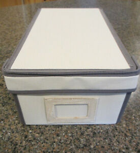 2  Fabric Shoe Storage Boxes, Hinged Lid, White and Gray