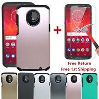 For Motorola Moto Z3/Z3 Play Shockproof Armor Bumper Slim Case+Tempered Glass