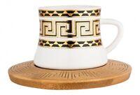Dekonaz | Kaffee- Teetassen Set | 6 Personen | Weiß | 12 Teilig | Bambus Unterta