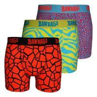 Bawbags Neuf Homme Originaux Techno Safari 3 Paquet Boxers - Multi avec