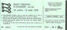 Billet Festival d'Avignon 1978 Cours de l'Oratoire Chant profond juif Théâtre