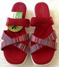 Women's 11.0 Red/Striped Fabric Shoes/Sandals GRASSHOPPERS Low Wedge New w/o Box