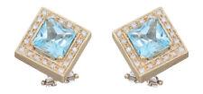Designer Ohrringe - Brillant Topas Gold 585 - Ohrclips Quadrat - Goldohrstecker
