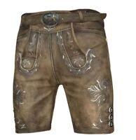 Trachten Lederhose kurz bayrische Lederhose antik braun mit Gürtel Gr.44-62