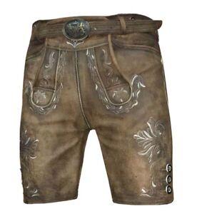 Trachtenhose Kurze Lederhose Bayrische Hose antik braun mit Gürtel Gr.44-60