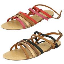 Sandalias y chanclas de mujer planos de color principal rojo sintético