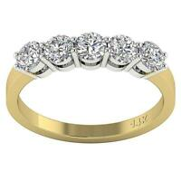 5 Stone Engagement Ring SI1 G 1.25 Ct Round Diamond 14K Two-Tone Gold Appraisal