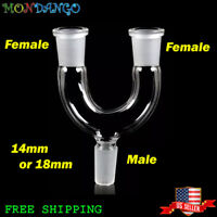14mm 18mm  Glass Adapter Splitter Male to Double Female All Joint Bong Adapter