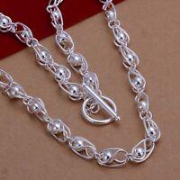 ASAMO Damen Halskette mit Steg Verschluss 925 Sterling Silber plattiert HA1263