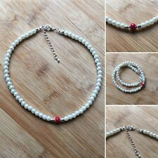 Beautiful Handmade Unique Faux Pearl & Red Glass Focal Beaded Choker Necklace