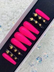Custom Made press on Nails Long Coffin Black Pink Cannabis Ganja Hemp Gel Nails