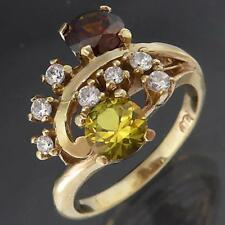 Wild Solid 9k Yellow GOLD Brown & Yellow TOPAZ & 7 CZ CLUSTER RING Sz P