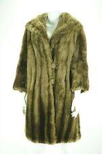 F10336 Sheared Beaver Real Fur Women Size M Coat Stroller Brown Vintage