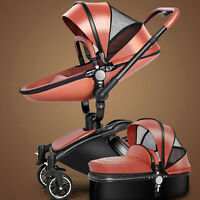 New Baby stroller 2 in 1 leather Carriage Infant Travel Foldable Pram push Udww