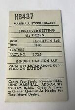 Hamilton 146 watch part Set Lever Spring for 18/0s, No. 2725 Marshal Stock H8437