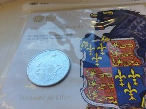 £5 Coin. The BLACK BULL of Clarence. Royal Mint sealed pack. Queens Beasts. BU.