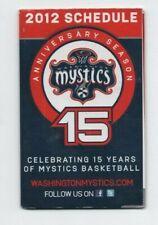 2012 WASHINGTON MYSTICS POCKET SCHEDULE (WNBA) (SKED)