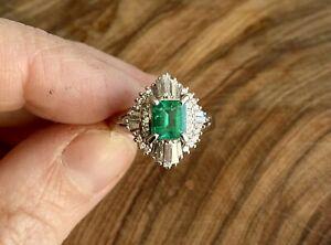 Estate Diamond Emerald And Platinum Contemporary Cluster Ring