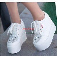 Fashion New Womens High platform Wedge Heel Rhinestone Sport Boots Sneaker Shoes