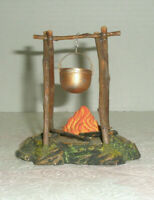 Vintage Model Railroad Village Fire Pit Copper Kettle Platform Figurine Germany