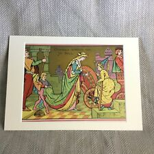 Rare Antique Print Cinderella Fairy Godmother 19th Century Illuminated