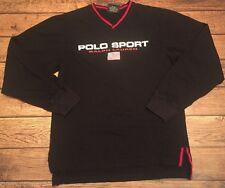 POLO SPORT Ralph Lauren Flag Spell out Long Sleeve Shirt Sz Youth M Women's RARE