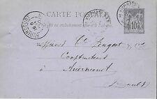 ENTIER  POSTAL  CARTE POSTALE  TYPE SAGE  1890 AUDINCOURT
