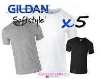 Gildan plain T Shirts Ring Spun Soft Style 5 Pack Cotton
