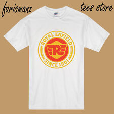 New Royal Enfield Motorcycle Famous Logo Men's White T-Shirt Size S to 3XL