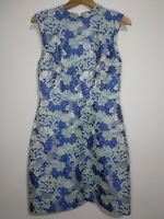 Oasis Blue Silver Floral Brocade Dress Size UK 10 Sleeveless Wedding Races Part
