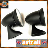 Pair astrali® OE Fit Adjustable Classic Car Door Bullet Torpedo Mirrors Black